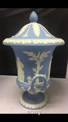 Rare Twin Handled Wedgwood Jasperware Lidded Urn -Date Mark Y For 1896 -H. 11.5