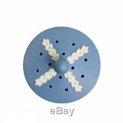 Rare VTG Blue White Embossed Jasperware Lot of 2 Pair Potpourri Jar c 1920 Motif