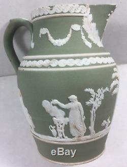 Rare Vintage Sage Green Dip Wedgwood Jasperware Creamer Jug Pitcher 1890 1891