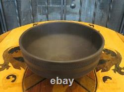 Rare Vintage Wedgwood Black Jasperware Basket Ware Funnel Shape Solid Bowl