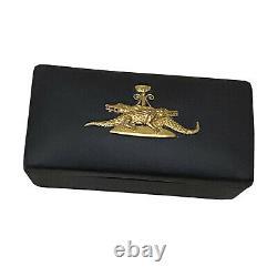 Rare Vintage Wedgwood Egyptian Jasperware Black Basalt Gold Crocodiles Trinket