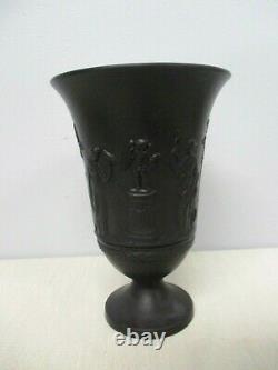 Rare Vintage Wedgwood Grecian Black Basalt Jasperware Footed Vase #65 7 1/4