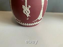 Rare Wedgewood Jasperware Crimson- Red Syrup Pitcher Metal Hinged LID
