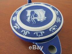 Rare Wedgwood 19th century cobalt blue dipped jasperware Zodiac oil lamp