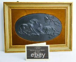 Rare Wedgwood Black Basalt Jasperware'The Frightened Horse' Plaque Ltd Edt