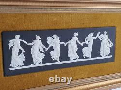 Rare Wedgwood Black Jasperware Dancing Hours Plaque Great Condition