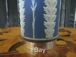 Rare Wedgwood Blue Jasper Ware Acanthus Silver Rim Base 6 Spill Vase (c. 1920s)