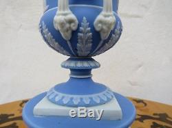 Rare Wedgwood Blue Jasper Ware Double Handled Pedestal Campana Urn Vase (c. 1865)