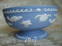 Rare Wedgwood Blue Jasperware World Wildlife Danbury Mint Pedestal Bowl Mint