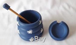 Rare Wedgwood Honey Pot Bees Blue Jasperware