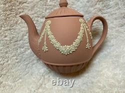 Rare Wedgwood Pink Jasperware Miniature Garlands Teapot
