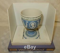 Rare Wedgwood Royal Silver Jubilee Tri Coloured Diced Jasper Chalice Goblet 292