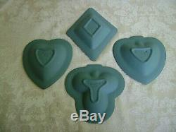 Rare Wedgwood Teal Jasperware Heart, Club, Spade & Diamond Bridge Set Plates