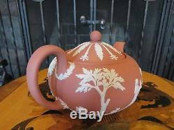 Rare Wedgwood Terracotta Jasper Ware Sacrifice Figures Large Teapot (1957)