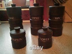 Rare Wedgwood black basalt jasperware Design 63 spice jars Robert Minkin