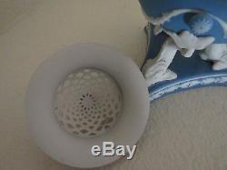 Rare Wedgwood blue jasperware Incense burner, tri dolphin pedestal, pierced lid