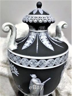 Rare (c. 1867) Wedgwood Black Jasperware Muses Pedestal Urn 7.5h #264 Mint
