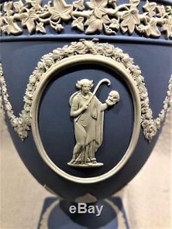 STUNNING Wedgwood Blue Jasperware MUSES #174 Urn WithLid 11.50H MINT NEW