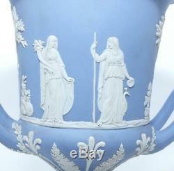 SUPERB LARGE WEDGWOOD 9 BLUE JASPERWARE CAMPAGNA URN VASE 1930's