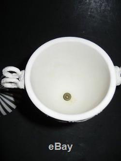Scarce Black & White Striped Wedgwood Jasperware Lidded Urn Rams Horn Handles