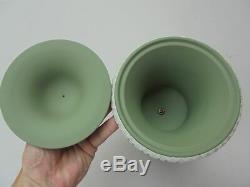 Scarce Wedgwood Green Jasperware Pedestal Campana Covered Urn 11 3/4