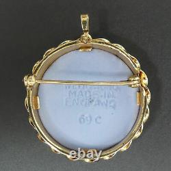 Scarce Wedgwood Vintage 3 Colour Jasper Ware 9 Ct Gold Brooch / Pendant 6 Grams