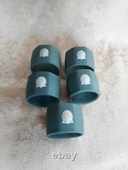 Set Of 5 Rare Wedgwood Teal Green Jasperware Napkin Ring With Seashell Design