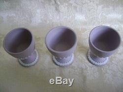 Set Of Three Wedgwood White On Lilac Jasperware Egg Cups