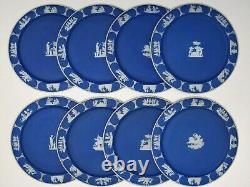 Set of 8 Wedgwood Etruria 9-3/4 Cobalt Blue Dip Jasperware Dinner Plates c. 1900