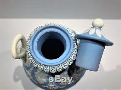 Stunning C. 1840' Wedgwood Blue Jasperware Dancing Hours 7.75 Urn WithLid NICE
