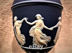 Stunning C. 1879 Wedgwood Cobalt Blue Jasper Ware Dancing Hours 9.5 Urn WithLid