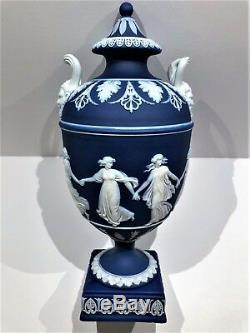 Stunning C. 1891 Wedgwood Cobalt Blue Jasper Ware Dancing Hours 9.0 Urn WithLid