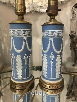 Stunning PAIR Antique Wedgwood Jasperware BLUE WHITE Lamps RAMS HEAD SWAGS