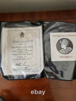 ULTRA RARE Vintage Wedgwood Egyptian Collection Black Basalt gold 24K Sphinx Ltd