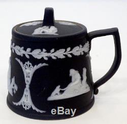 UNUSUAL & Early ANTIQUE Vintage WEDGWOOD Black Jasperware MUSTARD POT & LID