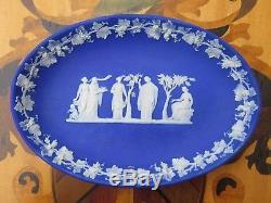 Unusual Antique Wedgwood Blue Jasper Ware Pen Trinket Oval 8 Tray Dish (c. 1820)