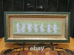 Unusual Antique Wedgwood Lime Green Jasperware Dancing Hours Gold Framed Plaque