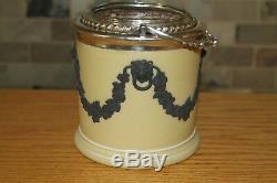Unusual Antique Wedgwood Yellow Jasper Ware Biscuit Barrel Black Relief (c. 1820)