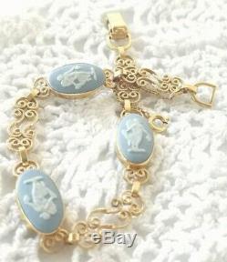 VAN DELL Wedgwood Light Blue Jasper Ware Cameo Filigree Link 12K GF Bracelet