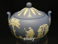 VINTAGE 1950s BLUE JASPERWARE WEDGWOOD TEAPOT, CREAMER & COVERED SUGAR