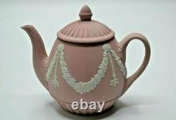 VINTAGE Wedgwood Jasperware Miniature Teapot Pink Garland