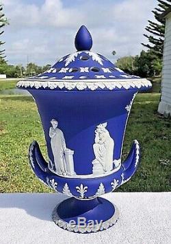 Very Large Old & Rare Wedgwood Cobalt Blue Jasperware Campana / Potpourri Urn