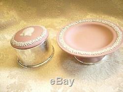 Very Rare Wedgwood Pink Jasperware Round Box And Dish With Silver Plate