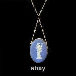 Victorian 15ct, 15k, 625 Gold Jasper ware Wedgwood & pearl lavaliere pendant