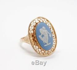 Vintage 14K Gold Wedgwood Blue Jasperware Fairy Filigree Ring