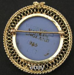 Vintage 14k Gold Wedgwood Blue Jasperware Medallion Pendant Dancing Hours Brooch