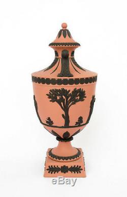 Vintage 1950s Wedgwood Terra Cotta Terracotta & Black Jasperware Urn 11 H