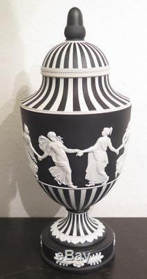 Vintage 1977 Wedgwood Jasperware Black Covered Urn Dancing Hours