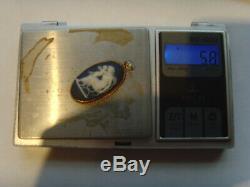 Vintage 9ct Gold Dark Blue Wedgwood Jasperware Cameo Pendant Date Letter L 1883