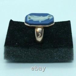 Vintage 9ct yellow gold Blue Wedgwood Jasperware cameo ring. Size Q